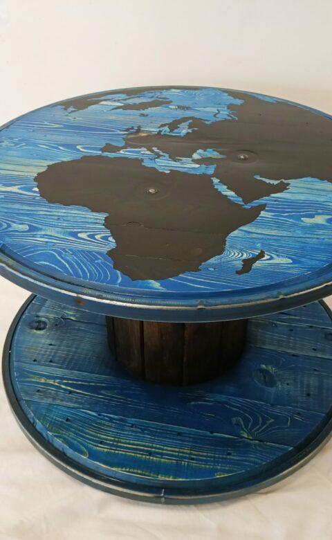 Table de salon, recyclage touret, world.